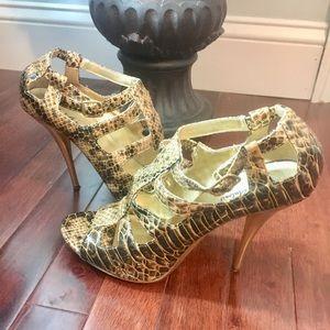 Michael Antonio Gold & Black High heel sandals.
